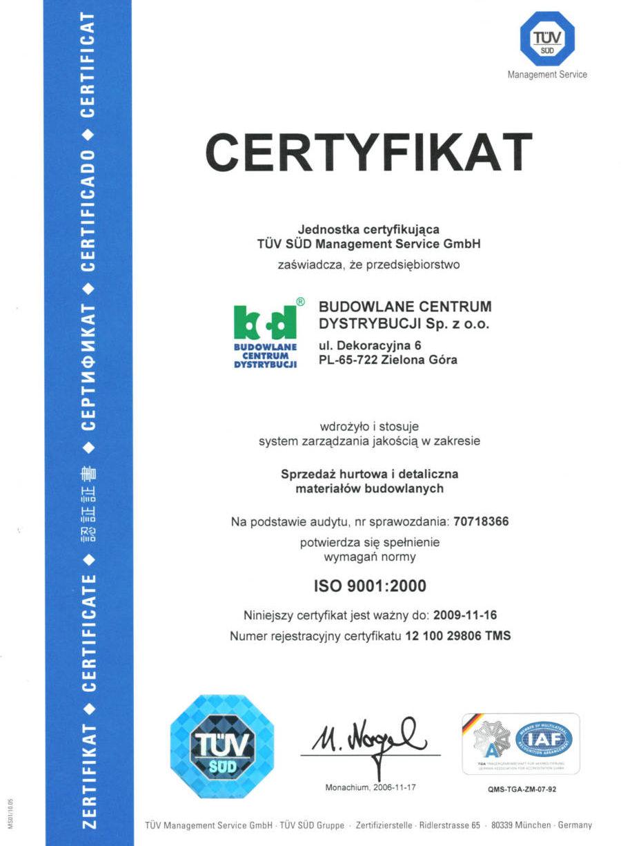 Certyfikat ISO-9001 - BCD Zielona Góra