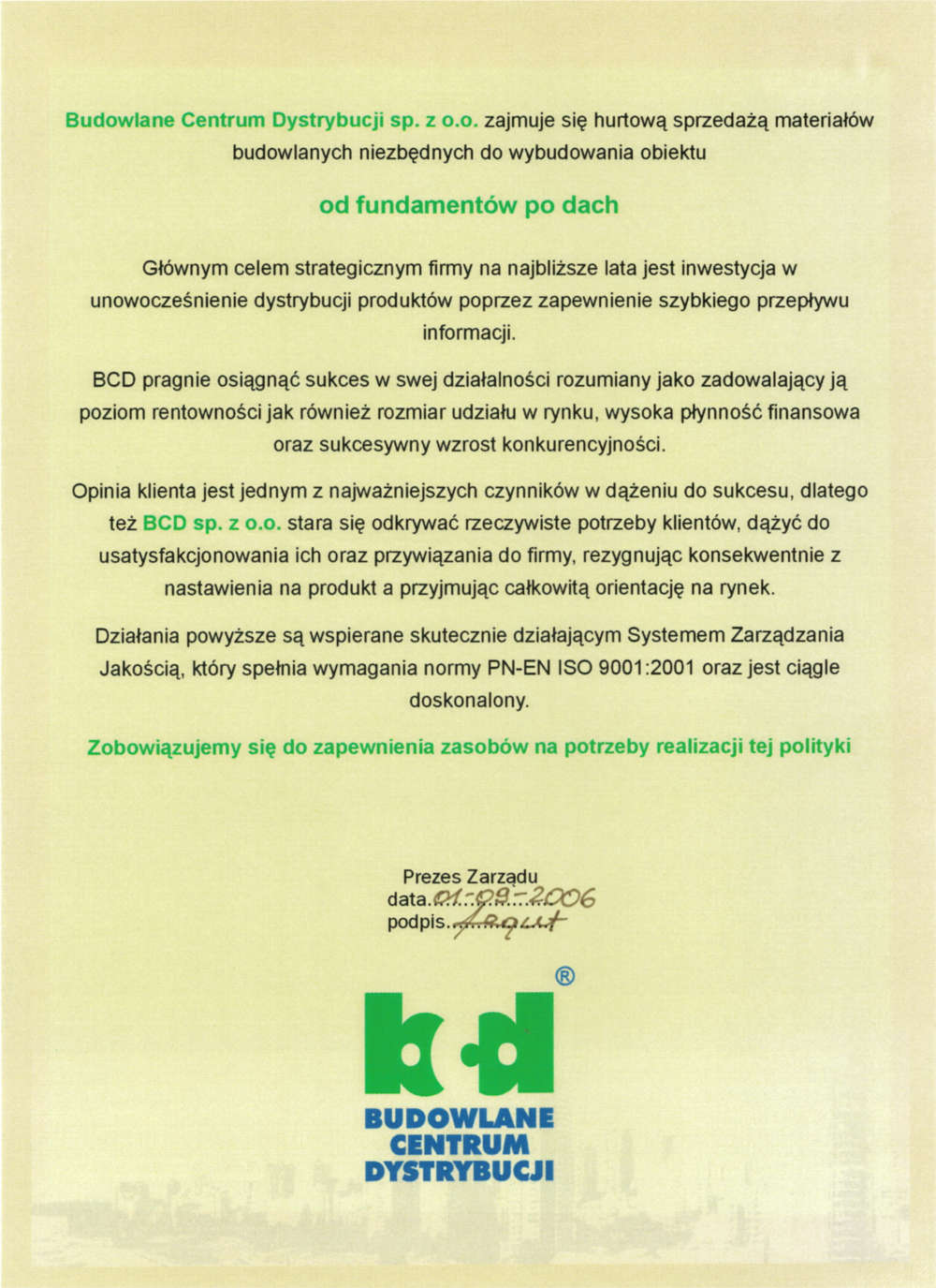 Polityka firmy - BCD